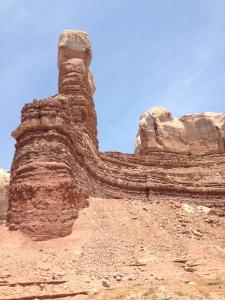 Side view of Navajo Twins, Bluff Utah